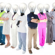 Stock Photo: Different workers with light bulb heads