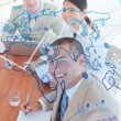 Overview of cheerful colleagues looking at blue map interface — Stock Photo