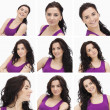 Collage of woman with curly hair — Foto de Stock
