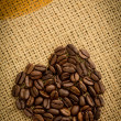 Heart made of roasted coffee beans — Stock Photo