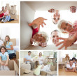 Stock Photo: Collage of families