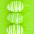 Stock Photo: Three green easter eggs