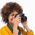 Pretty girl taking a photo — Stock Photo