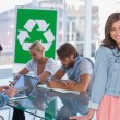 Team having meeting about recycling policy — Stock Photo
