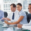 Smiling business brainstorming — Stock Photo