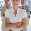 Stockfoto: Cheerful team of business standing together