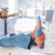 Stock Photo: Designer relaxing at desk with no shoes
