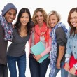Stock Photo: Fashionable students in row