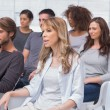 Stock Photo: Patients listening in therapy session