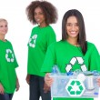 Stock Photo: Female activist holding recycling box