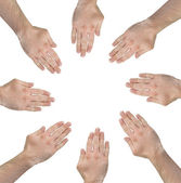 Group of hands forming a circle — Stock Photo