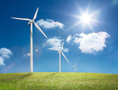 Digital landscape with three wind turbines — Stock Photo
