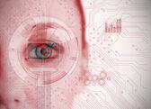Zblízka žena oka analýza grafu rozhraní s obvodem boa — Stock fotografie