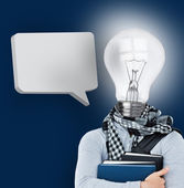 Student with a light bulb head and blank speech bubble — Stock Photo