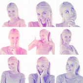 Collage with various pictures of blonde woman — Stock Photo