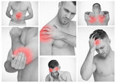 Pictures representing man with pain — Stock Photo