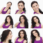 Collage of woman with curly hair — Stock Photo