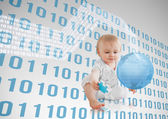 Blue binary codes floating around a baby with a blue planet — Stock Photo