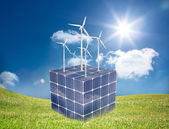Turbines on a cube made of solar panels — Stock Photo