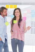 Teamwork brainstorming together — Stock Photo
