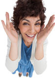 Overhead of surprised woman with hands wide opened — Stock Photo