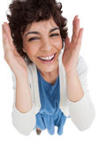 Overhead of smiling woman with hands wide opened — Stock Photo