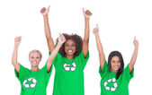 Excited group of enviromental activists giving thumbs up — Stock Photo
