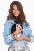 Smiling woman with her chihuahua — Stock Photo