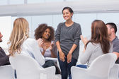 Patient has a breakthrough in group therapy — Stock Photo
