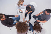 Overhead of group therapy session — Stock Photo