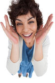 Overhead of amazed woman with hands wide opened — Stock Photo