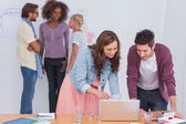 Designers and editors working and chatting — Stock Photo