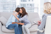 Couple reaching break through in therapy session — Stock Photo