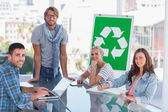 Team having meeting about recycling — Stock Photo