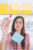 Woman writing on the planning — Stock Photo