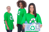 Female activist holding recycling box — Stock Photo