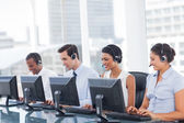 Line of call centre employees — Stock Photo