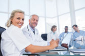 Two doctors smiling — Stock Photo