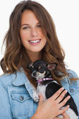 Pretty woman with her chihuahua — Stock Photo