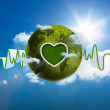 Stock Photo: Green and white waveform with green earth and heart shape