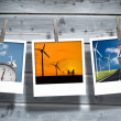 Three pictures of different themes hung with clothespins — Stock Photo