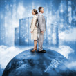 Business on top of the world with data server — Stock Photo