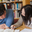 Two students learning in a library — Stock Photo