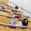 Studying students in a lecture hall — 图库照片