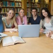 Six students learning in a library with a laptop — Stockfoto