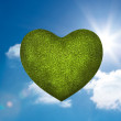 Green heart in the sky — Stockfoto