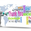 White figure revealing thank you in different languages with a megaphone — Stock Photo #25732661