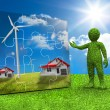 Green character presenting a jigsaw with houses and wind turbine inside — Stock Photo