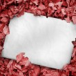 White poster buried into red leaves — Stock Photo #25732955