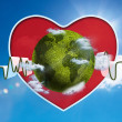Stock Photo: Green and white waveform with green earth and red heart